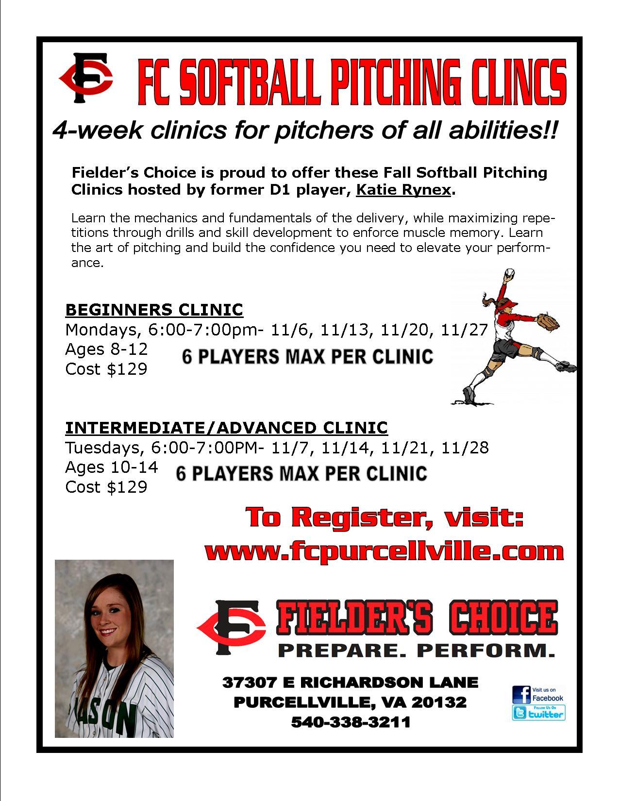 2017 Fall Softball Pitching Clinics